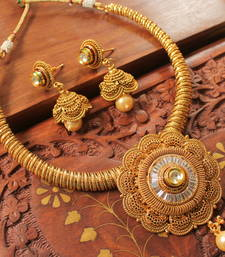 Buy Gorgeous antique designer kundan necklace set-DJ01427 necklace-set online