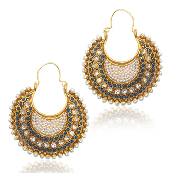 Ethnic Indian Vintage Jewelry- Magnetic blue, body of pearl bali earring dds vi633b