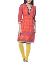 Buy Orange Block Print Rayon kurti long-kurtis online