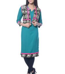 Buy Turquoise Cotton kurti long-kurti online