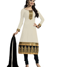 Buy White Embroidered chanderi unstitched salwar with dupatta party-wear-salwar-kameez online