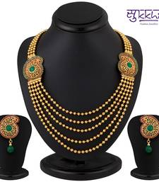 Buy Sukkhi Pleasing Five String Gold Plated Emerald Studded Necklace Set eid-jewellery online