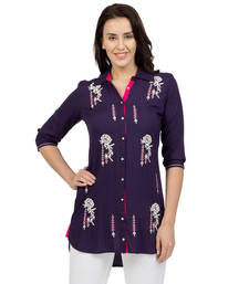 Buy Blue embroidered Rayon tunics tunic online