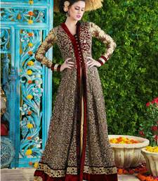 Buy Red net embroidered semi stitiched salwar party-wear-salwar-kameez online