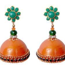 Buy Green pachi with orange quilled jhumkas jhumka online