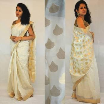 Ivory Saree with Gold Drop Motif