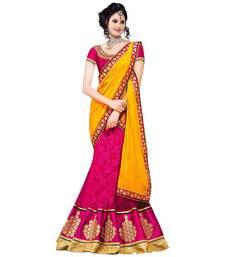 Buy Pink and yellow gulshan net embroidered lehenga choli net-lehenga online