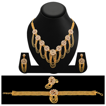 Classic Gold Plated AD Necklace Set For Women