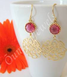 Buy Swirl triangles with pink connector earrings danglers-drop online