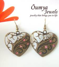 Buy Pink-White Heart Brass earrings danglers-drop online