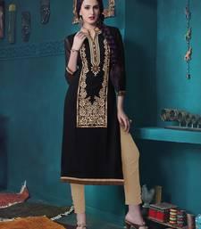 Buy Black Pure Georgette embroidered kurti wedding-season-sale online