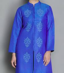 Buy Blue Pure Silk Quilted and Embroidered Jacket heavy-work-kurtis online