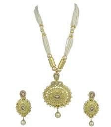 Buy Golden Beige Polki Stones Pendant Set Jewellery for Women - Orniza necklace-set online