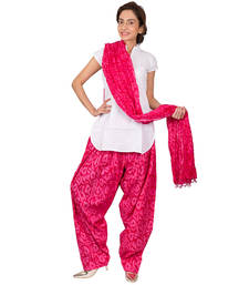 Buy Womens Cottage Fuchsia leaf printed cotton semi patiala  and  cotton dupatta with beads patialas-pant online