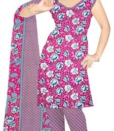 Buy Pink printed art silk unstitched salwar with dupatta salwar-kameez-below-300 online