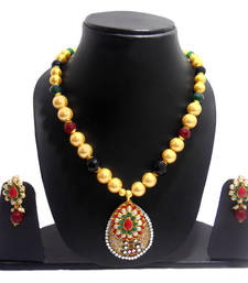 Buy MULTICOLOR MOTHER OF PEARL NECKLACE WITH EXCLUSIVE PACHI WORK necklace-set online