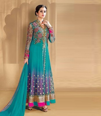 Light blue net embroidered georgette semi stitched indian party dress