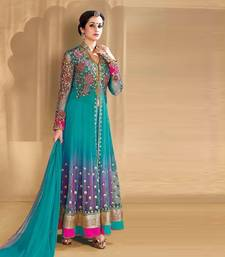 Buy Light blue net embroidered georgette semi stitched indian party dress party-wear-salwar-kameez online
