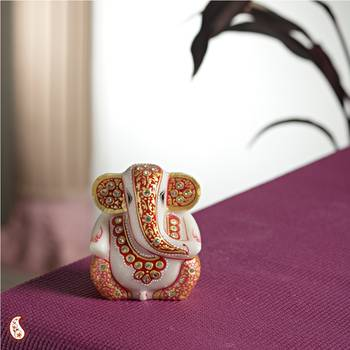 Gold work Marble Ganesh with Kundans