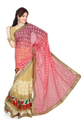 Buy Red And Chikoo Brasso Georgette Saree With Blouse Online