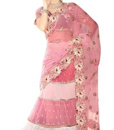 Buy  Designer Net Fabric  pink Colored Embroidered Lahenga Saree net-saree online