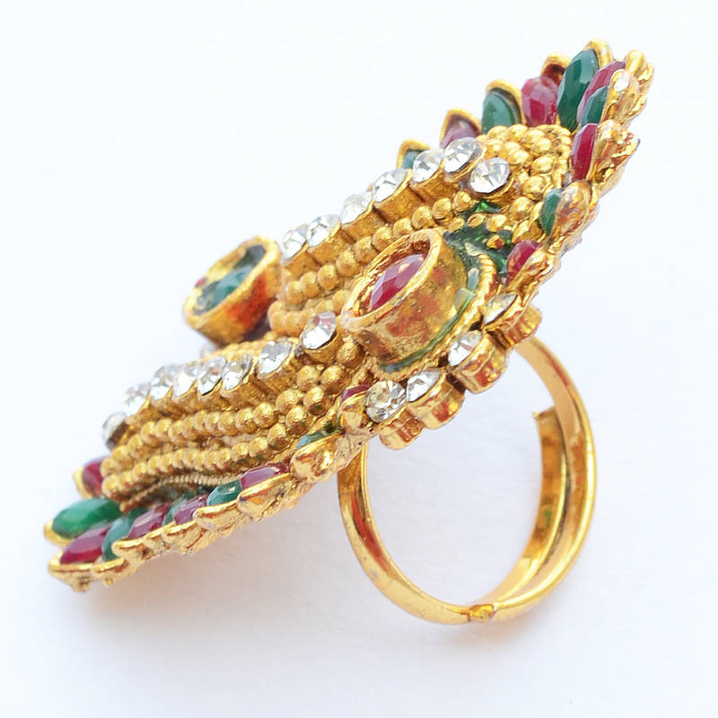 Buy Classy Stone Studded Golden Finger Ring For Women Online