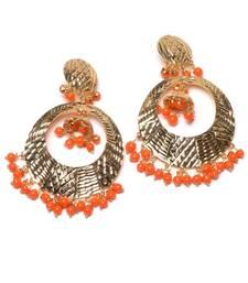 Buy Orange Beads Embellished Dangler Earrings danglers-drop online