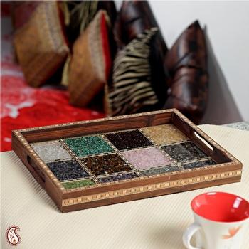 Glass Framed Gemstone wooden tray