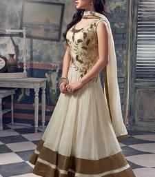 Buy Off white georgette embroidered semi stitiched salwar with dupatta salwar-kameez-below-2000 online