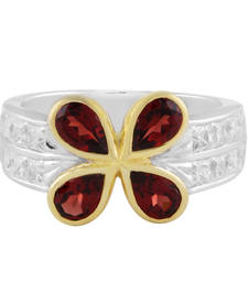 Buy Silver Garnet And Cubic Zirconia Studded Ring Ring online