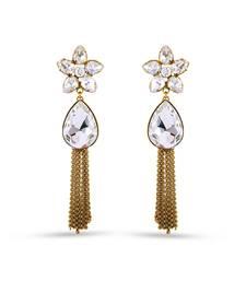 Buy Gold Finishing Floral White Kundan Work Long Dangle Earrings hoop online