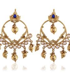 Buy Beautiful Bali Gold Finishing Blue Kundan  Dangle Earrings hoop online