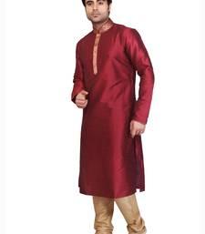 Buy maroon polysilk bronze poly silk plain kurta pyjama kurta-pajama online