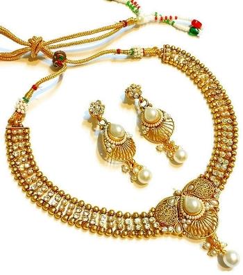 Divinique  Pearl Polki Necklace set