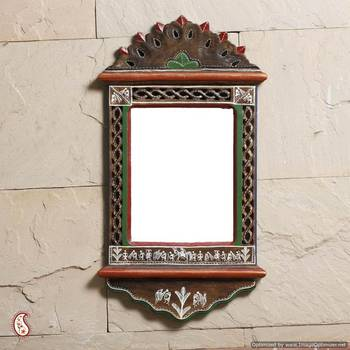 Warli painting on large wooden mirror