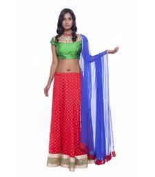 Buy Red border work chiffon stitched lehenga choli readymade-lehenga-cholis online