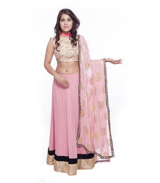Buy Pink border work georgette stitched lehenga choli readymade-lehenga-choli online