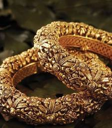 Buy Classy Looking Gold Studded Bangle Pair bangles-and-bracelet online