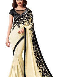 Buy YELLOW embroidered georgette saree with blouse traditional-saree online
