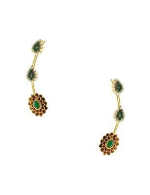 Emerald Green Traditional Rajwadi Ear Cuffs Earrings Jewellery for Women - Orniza
