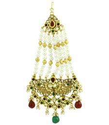 Buy Red Green Polki Stones Passa Side Jhoomer Jewellery for Women - Orniza hair-accessory online