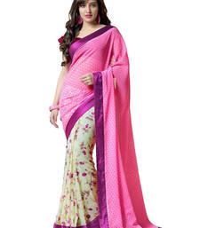 Buy Pink printed georgette saree with blouse half-saree online