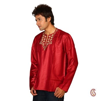 Shining Red Cotton Satin Kurta with Heavy Embroidery