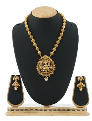 Traditional Laxmi Pendant Pearl temple Necklace FancyJewellery