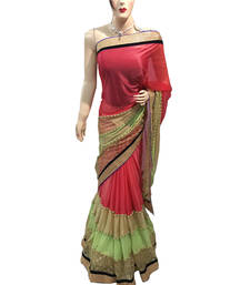Buy Maroon embroidered lycra saree with blouse half-saree online