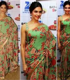Buy dark Pista green floral print georgette saree deepika-padukone-saree online
