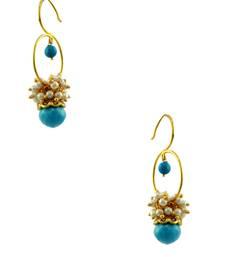 Buy Turquoise Blue Traditional Rajwadi Hoop Earrings Jewellery for Women - Orniza danglers-drop online
