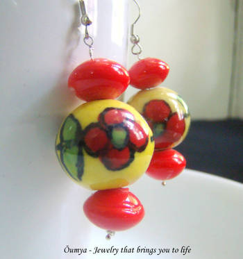 Yellow red porcelain earrings