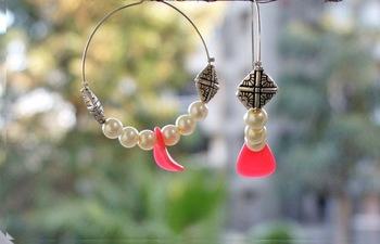 white pink pearl hoops