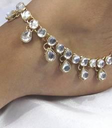 Buy White stones kundan anklet anklet online